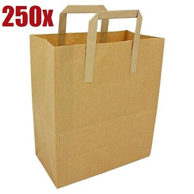 250 x Brown Medium Paper Bags With Handle - Food Carrier Bag 25 x 30 cm