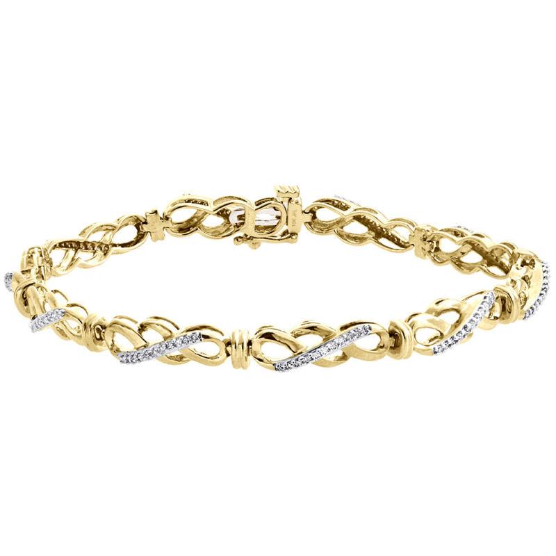 "10k Yellow Gold Real Diamond Interlocking Triple Infinity Bracelet 7"" | 1/2 Ct."
