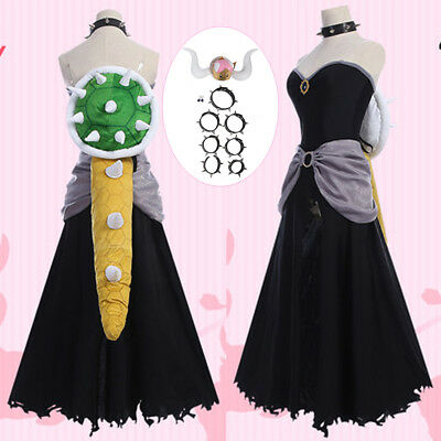 Mario Bowsette Kuppa Koopa Hime Princess Cosplay Dress Accessories Full Outfit - Mario Costume Accessories