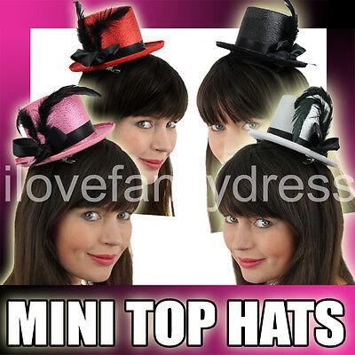 LADIES MINI FASCINATOR TOP HATS HALLOWEEN FANCY DRESS HAIR CLIP CHOOSE COLOUR