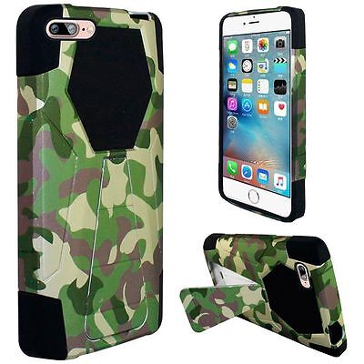 Camouflage Camo Design 2 Piece Hybrid T Kickstand Case Cover for Apple iPhone 7