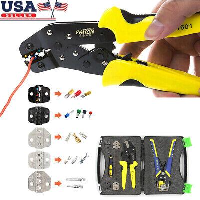 Paron Wire Stripper Crimper Tool Crimping Ratchet Cord Terminals Pliers Kit Y9y3