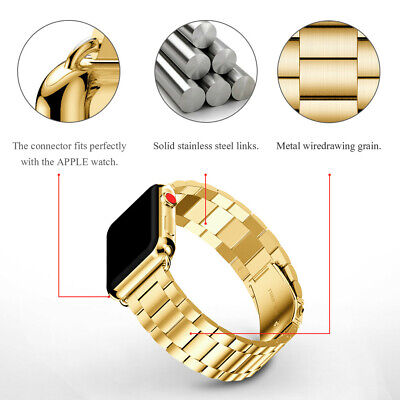 Gold Stainless Steel For Apple Watch Strap Band 38mm 40mm Metal Links Bracelet - Gold Stainless Steel Strap