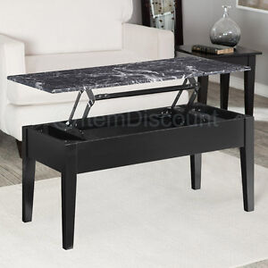 Black faux marble lift top coffee table end laptop stand for Useful tv tray coffee table