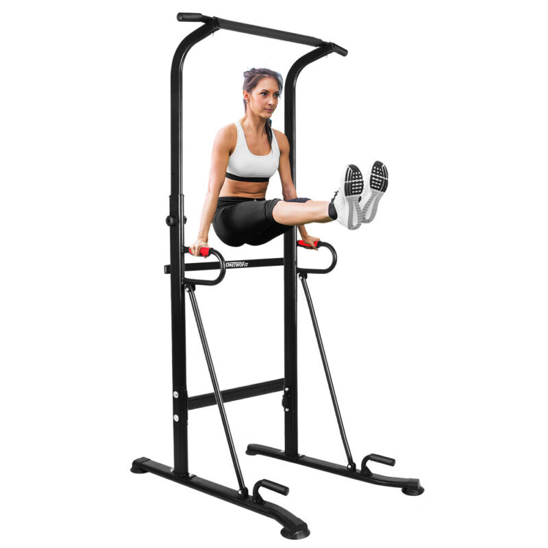 OneTwoFit Pull Up Bar Power Tower Dip Station for Indoor Home Gym Fitness
