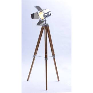 Tripod Floor Lamp With Chromed Head And Sheets