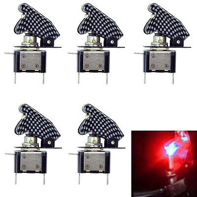 5pcs 12v Carbon Fiber Cover Car Motor Red Led Light Spst Toggle Switch Control