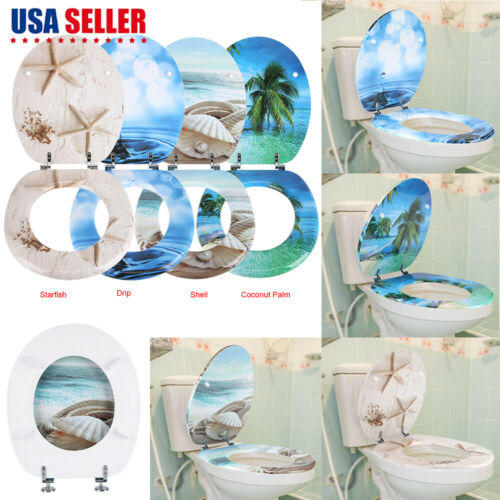 3D Ocean Series Round Toilet Seat Open Front Seat With Adjus