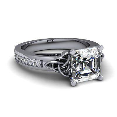 1.44ct Asscher Celtic Look Diamonds VS2-H GIA 14K 18K Platinum Engagement Ring 4
