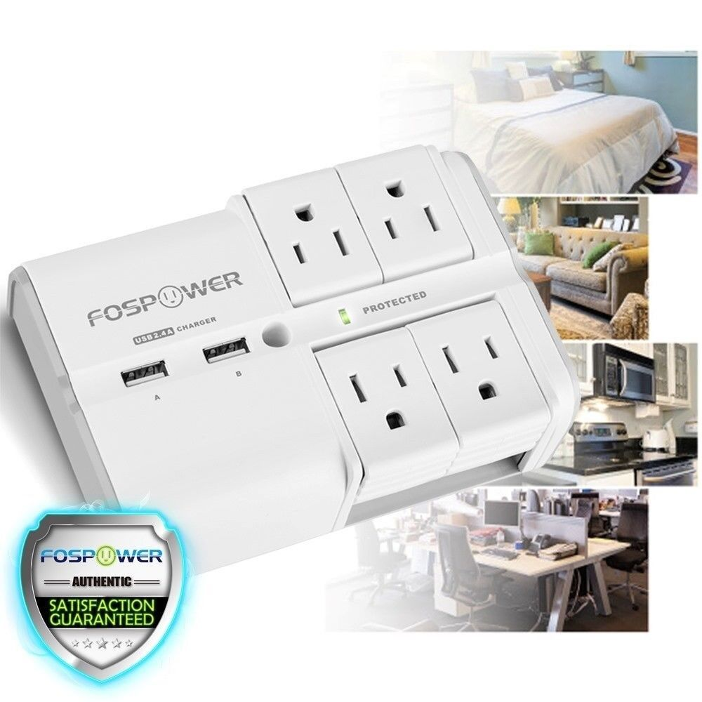 [UL Listed] 4 Outlet 2 USB Rotating Safety Surge Protector Swivel Wall Plug Tap