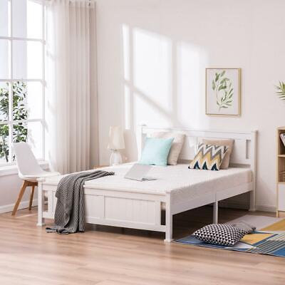 Twin/Full/Queen Size Wood Bed Frame Wooden Slat Support Platform w/ Headboard
