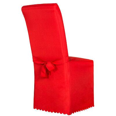 Stuhlhusse Stuhlüberzug Stuhlbezug Stuhl Hussen Bezug mit Schleife Hochzeit rot