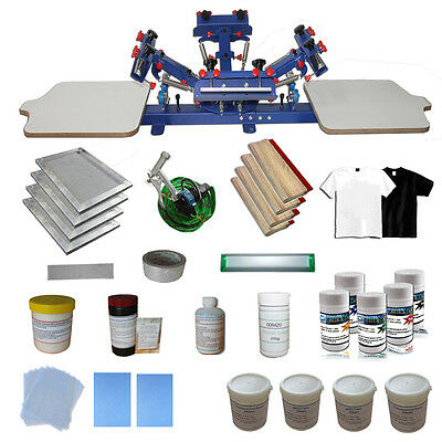 4 Color 2 Station Screen Printing Kit Press Printer With Ink Squeegee Supplies