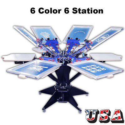 6 Color Screen Printing Machine Press Shirt Printer Heavy Duty Screen Printer