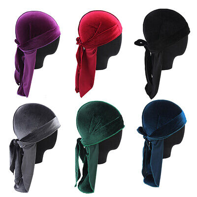 Men Women Velvet Silky Durag Hat Bandanna Turban - Velvet Pirate Hat