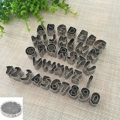 US 37pcs Alphabet Number Letter Fondant Cookies Cutter Mold Tools Stainless Set