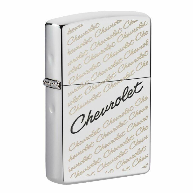 Zippo Chevrolet Script Logo High Polish Chrome Pocket Lighter, 49305