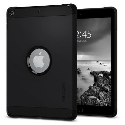 "Spigen® Apple iPad 9.7"" 2017 [Tough Armor] Black Shockproof Protective TPU Case"