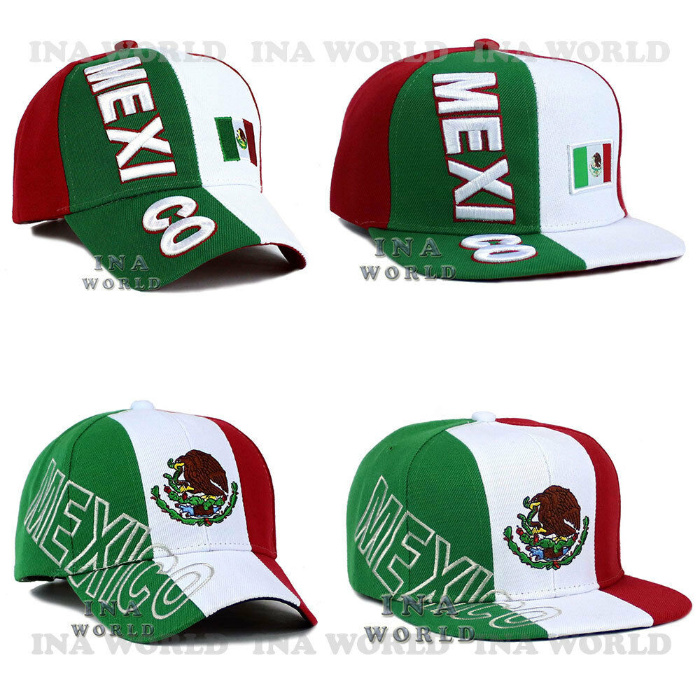 ef002e6b754 MEXICAN hat MEXICO Flag cap Embroidered Curved bill   Flat bill Baseball cap