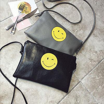 Women Leather Shoulder Envelope Handbag Bag Smile Face Messenger Bag Tote Purse