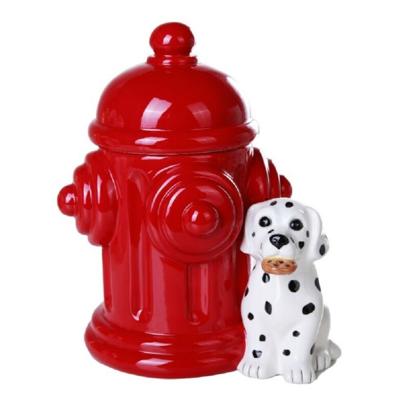 Dalmatian Dog with Fire Hydrant Ceramic Cookie Jar