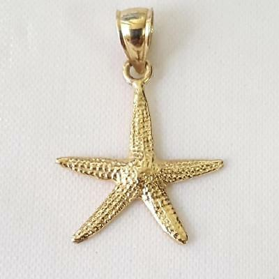 Gold Starfish Charm - 14k Yellow Gold STARFISH Pendant / Charm, Made in USA