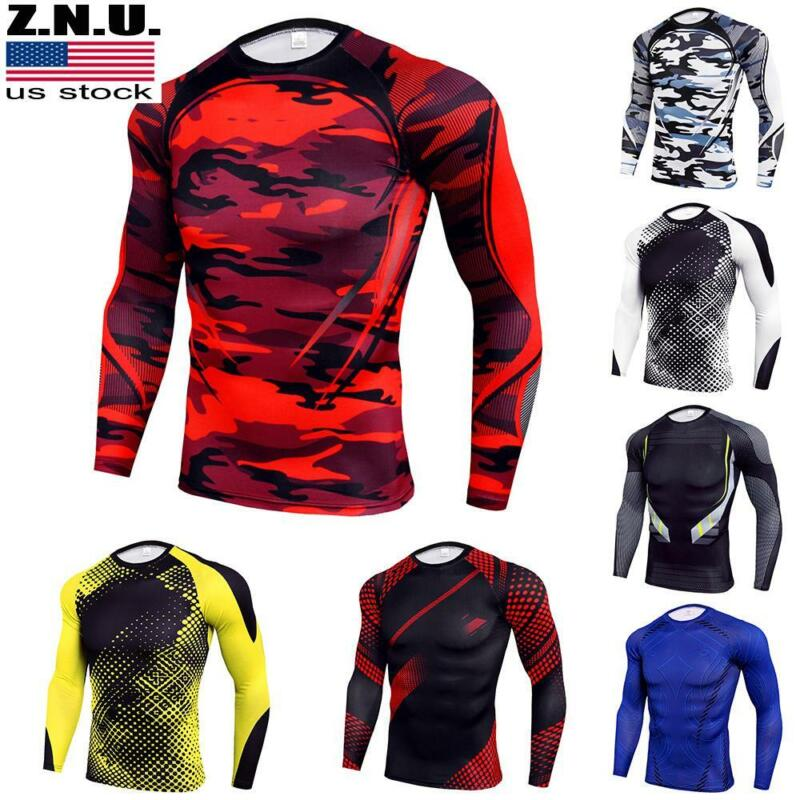 Mens Compression Armour Long Sleeve Base Layer Top Thermal Sports Gym Slim Shirt