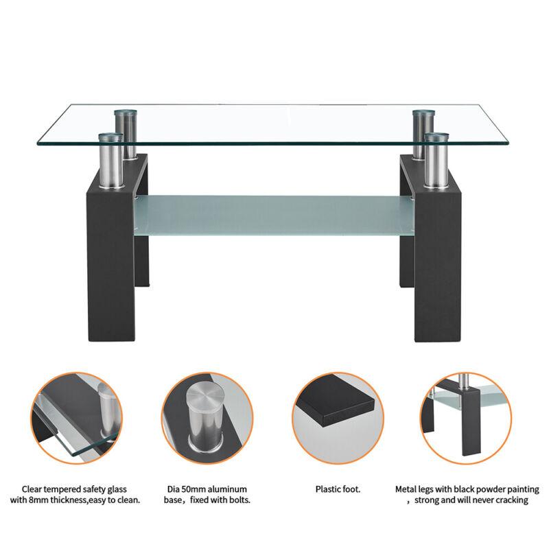 Modern Rectangular Glass Top Coffee Tee Table with Shelf Living Room Furniture