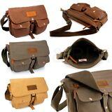 Men's Vintage Canvas Leather Shoulder Bag Messenger Travel School Briefcase Bag