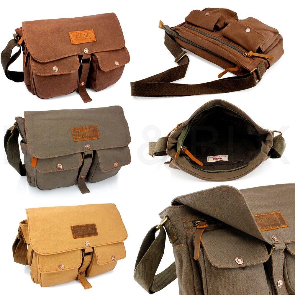как выглядит Мужская кожаная сумка Mens Vintage Canvas Leather Shoulder Bag Messenger Travel School Briefcase Bag фото