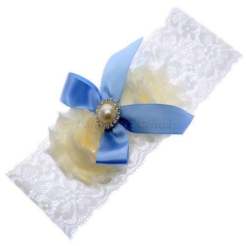 Charming Party Girl Blue Satin Wedding Lace White Pearl Garter Bowknot
