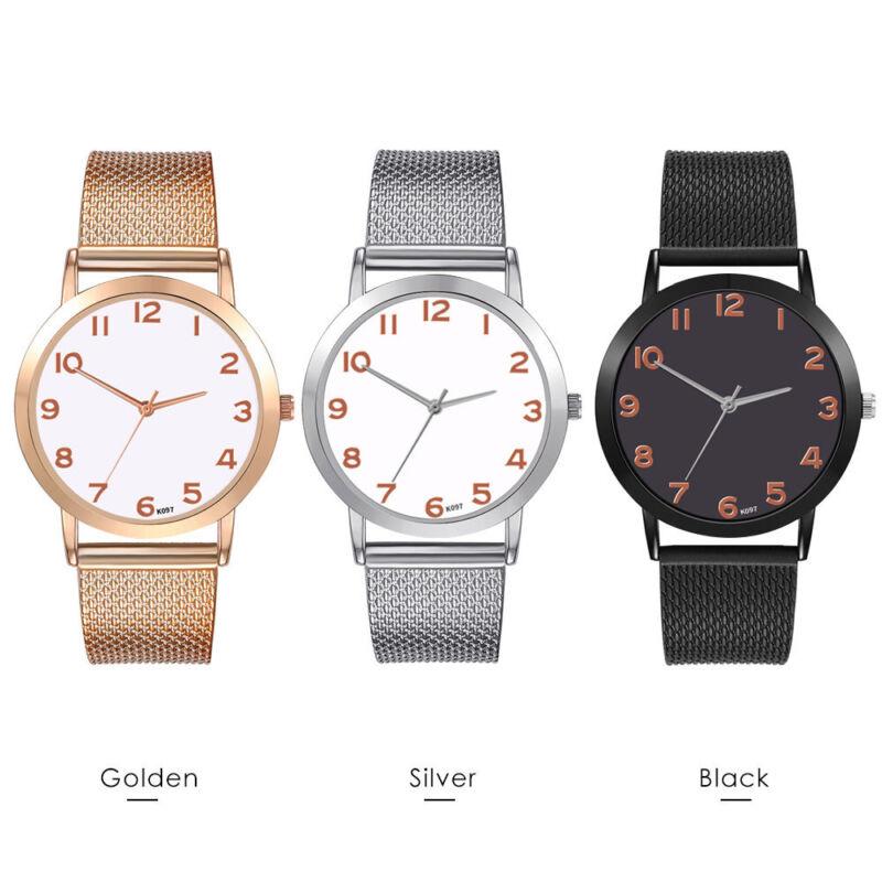 Frauen Luxus Freizeit Set Auger Leder Edelstahl Uhren  Quarz Einfache Armbanduhr