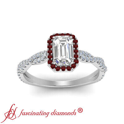 Infinity Twist Halo Engagement Ring With 3/4 Carat Emerald Cut Diamond And Ruby 2