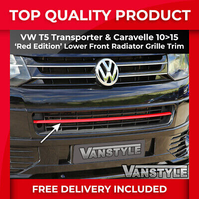 VW T5 TRANSPORTER 10-15 T5.1 FRONT BUMPER RED RADIATOR GRILLE STRIP NOT CHROME