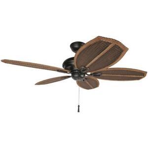 Hampton Bay 48 In. Natural Iron Outdoor Ceiling Fan Wicker Island Tropical  Palm