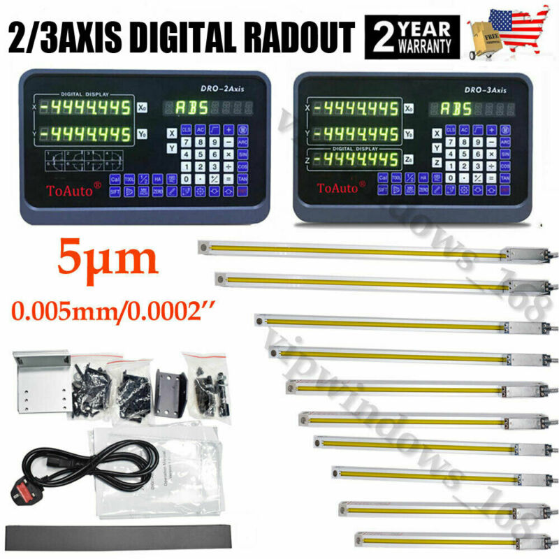 2/3Axis Digital Readout Linear Scale DRO Display 5µm Sensor Grind Mill Lathe,USA