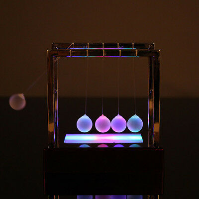 Science Toys (Newtons Cradle LED Light UP Balance Balls Physics Science Pendulum Swing Ball)