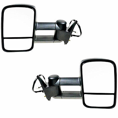 For 88-98 Chevy GMC C/K Tahoe Yukon Black Power Towing Mirrors Side Tow Pair