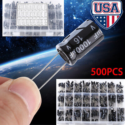 500pcs 16v-50v Electrolytic Capacitor Assortment Box 0.1uf-1000uf 24 Values Us