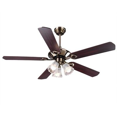 """52"""" Bronze Finish Ceiling Fan Light Kit Downrod Reversible Remote Control Indoor"""