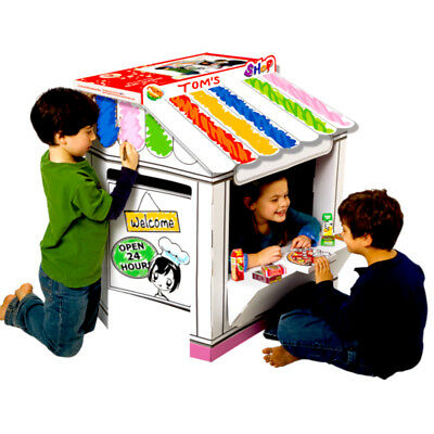 Cardboard Playhouse Shop for Creative Coloring