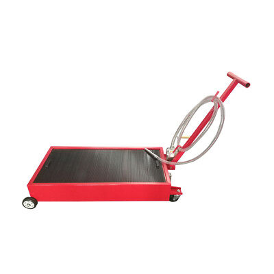 High-quality 20 Gallon Low Profile Truck Car Oil Drain Pan With Pump 8'Hose Red