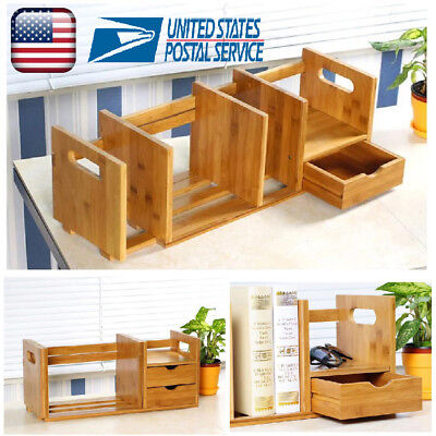 Adjustable DIY Wood Desk Top Book Shelf Rack Storage Organizer Office - Diy Desk Organizer