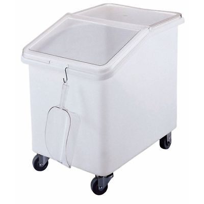 Cambro 37 Gal White Plastic Slant Top Ingredient Bin With Clear Lid - 29 58l X