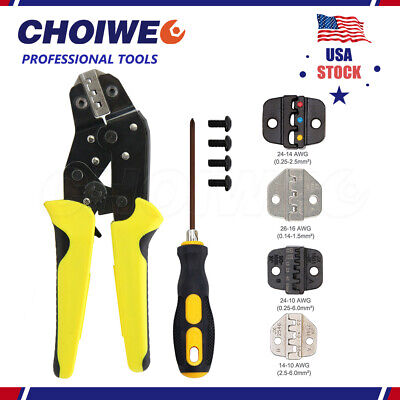 Insulated Cable Terminals Connector Ratchet Crimping Tool Wire Crimper Pliers