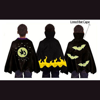Spooky Halloween Stuff (Spooky Stuff Kids Black Bat Witch Vampire Halloween Costume Cape Boys Girls)