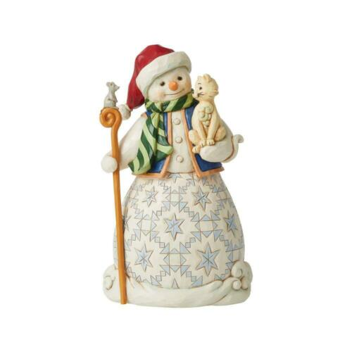 Jim Shore SNOWMAN WITH CAT-CHASE A HAPPY HOLIDAY 6008097 BRAND NEW 2021