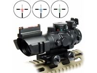 4x32 Red/Green/Blue Rifle Scope with Fiber Optic Sight