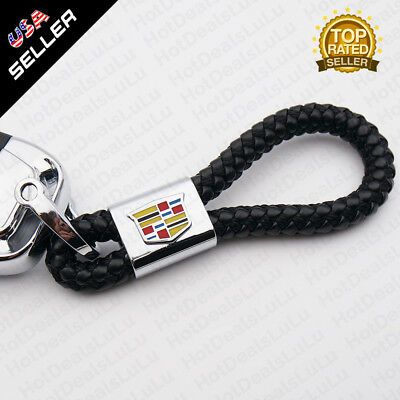 Black Calf Leather Keychain Ring Decoration Gift Accessories Cadillac Emblem