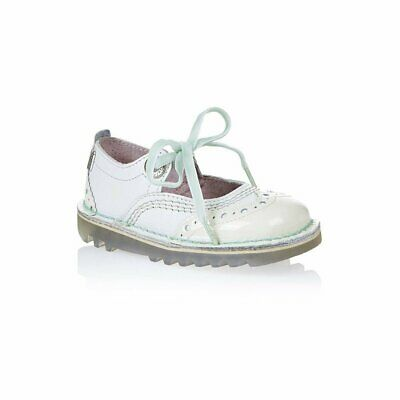 Kickers Infants Leather White Brogue Lace Shoes 1-13274